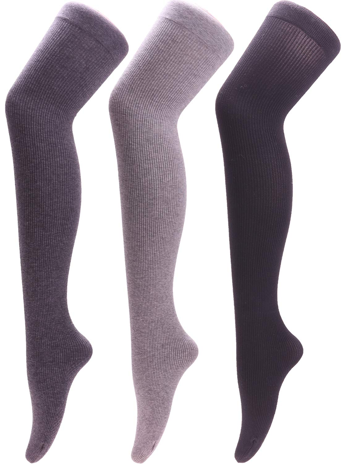 3 Pairs Women Thigh High Cotton Socks Solid Color, S61 Size 5-11