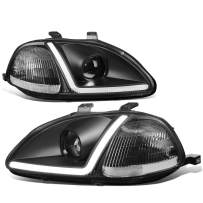 Pair LED DRL Black Housing Clear Corner Projector Headlight Lamps Replacement for Honda Civic 96-98