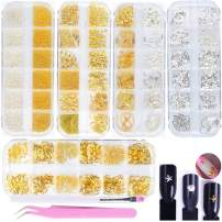 editTime 5 Boxes Gold & Silver Metal Nail 3D Punk Studs Star Moon Heart Triangle Square Rivet Gems Nail Art Jewels with a Curved Tweezers and a Nail Brush and a Wax Pen Picker (gold & silver)