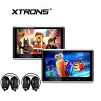 XTRONS 2 x 10.2 Inch Pair HD Digital TFT Screen HDMI Video Car Active Headrest DVD Player IR Headphones