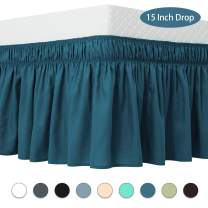 Guken Wrap Around Bed Skirt 15 Inch Drop, Elastic Dust Ruffle, Easy On and Easy Off, Easy Fit Wrinkle and Fade Resistant Luxurious Silky Fabric Solid(Blue,Twin)
