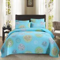 YAYIDAY Cotton Bedspreads Set Queen Size Summer Bedding - Breathable Hypoallergenic Bed Blanket Floral Quilted Coverlet with Shams Turquoise Aqua Blue Modern Print Flower Botanic