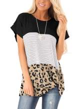 Adreamly Womens Casual Leopard Color Block Striped Short Sleeve T-Shirt Twist Knot Tunics Tops