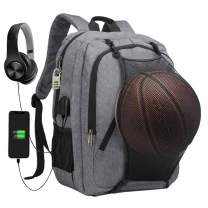 Sports Basketball Backpack Business Travel Laptops Backpack with USB Charging Port Water Resistant College School Computer Bag for Women & Men Student Fits 15.6 Inch Notebook