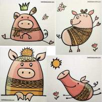 Mixed Cute Pigs Set of 4 Cloths Swedish Dishcloths (one of Each Design) | ECO Friendly Sponge Cloth | Paper Towel Replacement