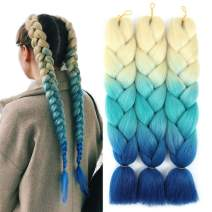 FU SHEN Jumbo Braiding Hair Synthetic Hair for Braiding Ombre Kanekalon Braiding Hair Extension Jumbo Braids Hair Pre Stretched Synthetic Hair Extensions For Box Braids 24Inch 3Pcs/Lot