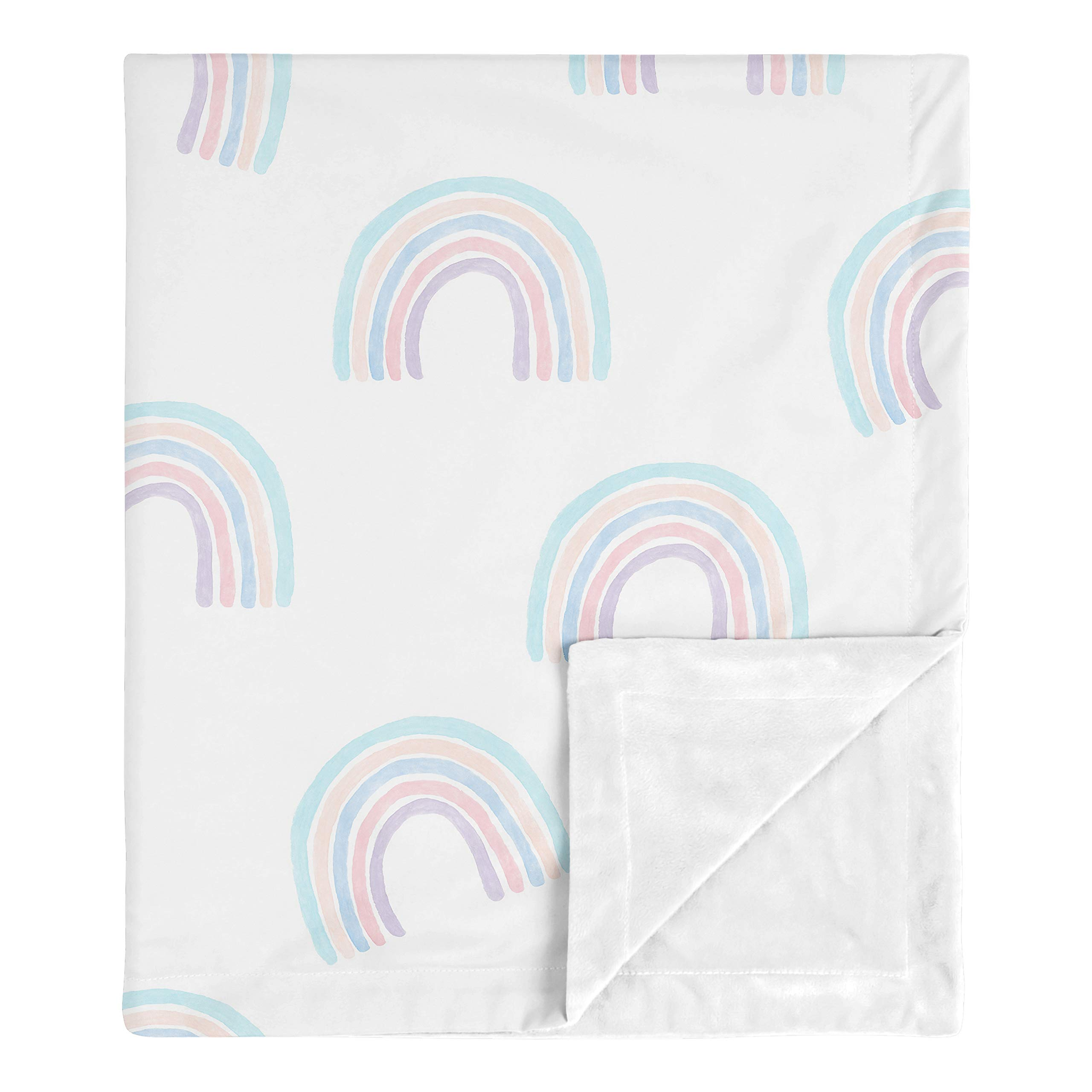 Sweet Jojo Designs Pastel Rainbow Baby Girl Receiving Security Swaddle Blanket for Newborn or Toddler Nursery Car Seat Stroller Soft Minky - Blush Pink, Purple, Teal, Blue and White