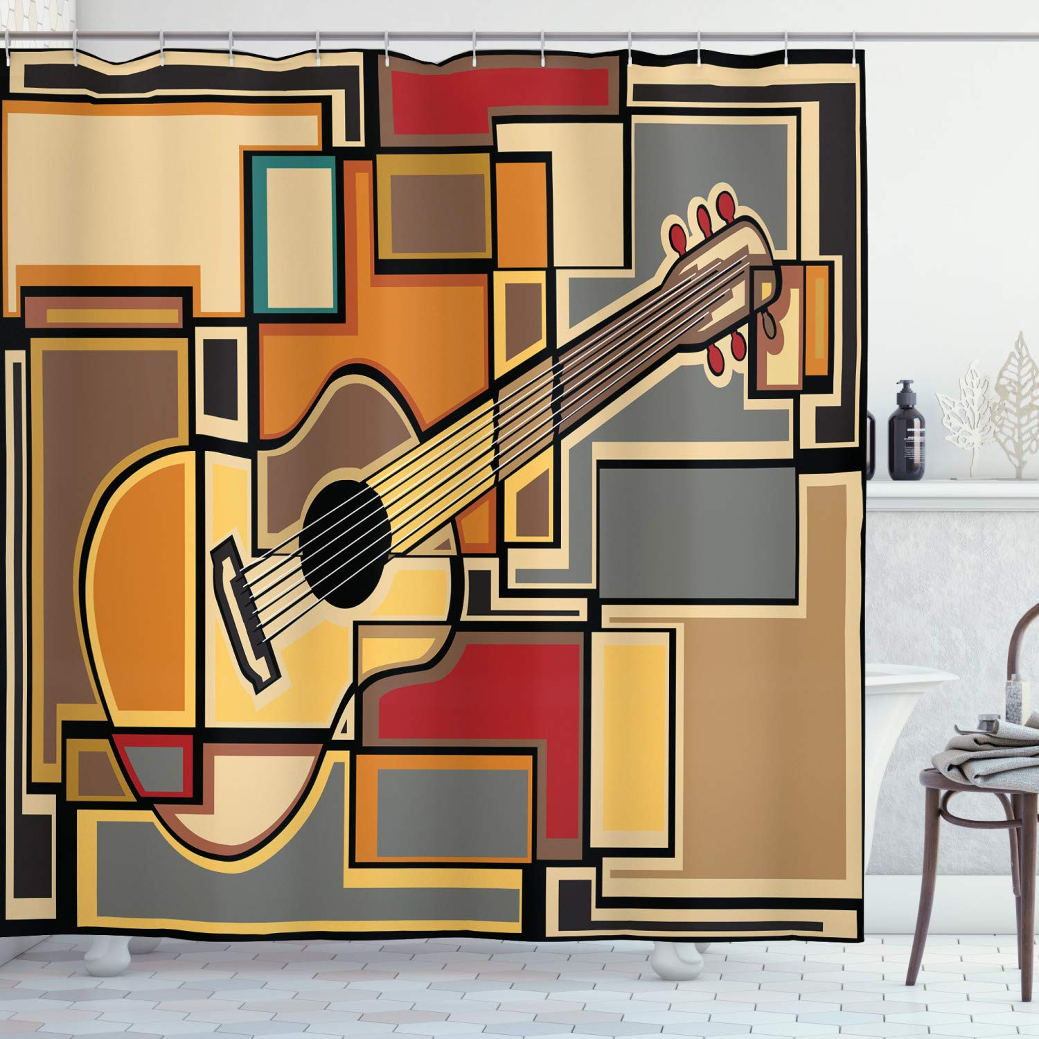 "Ambesonne Music Shower Curtain, Funky Fractal Geometric Square Shaped Background with Acoustic Guitar Art, Cloth Fabric Bathroom Decor Set with Hooks, 70"" Long, Pale Yellow"