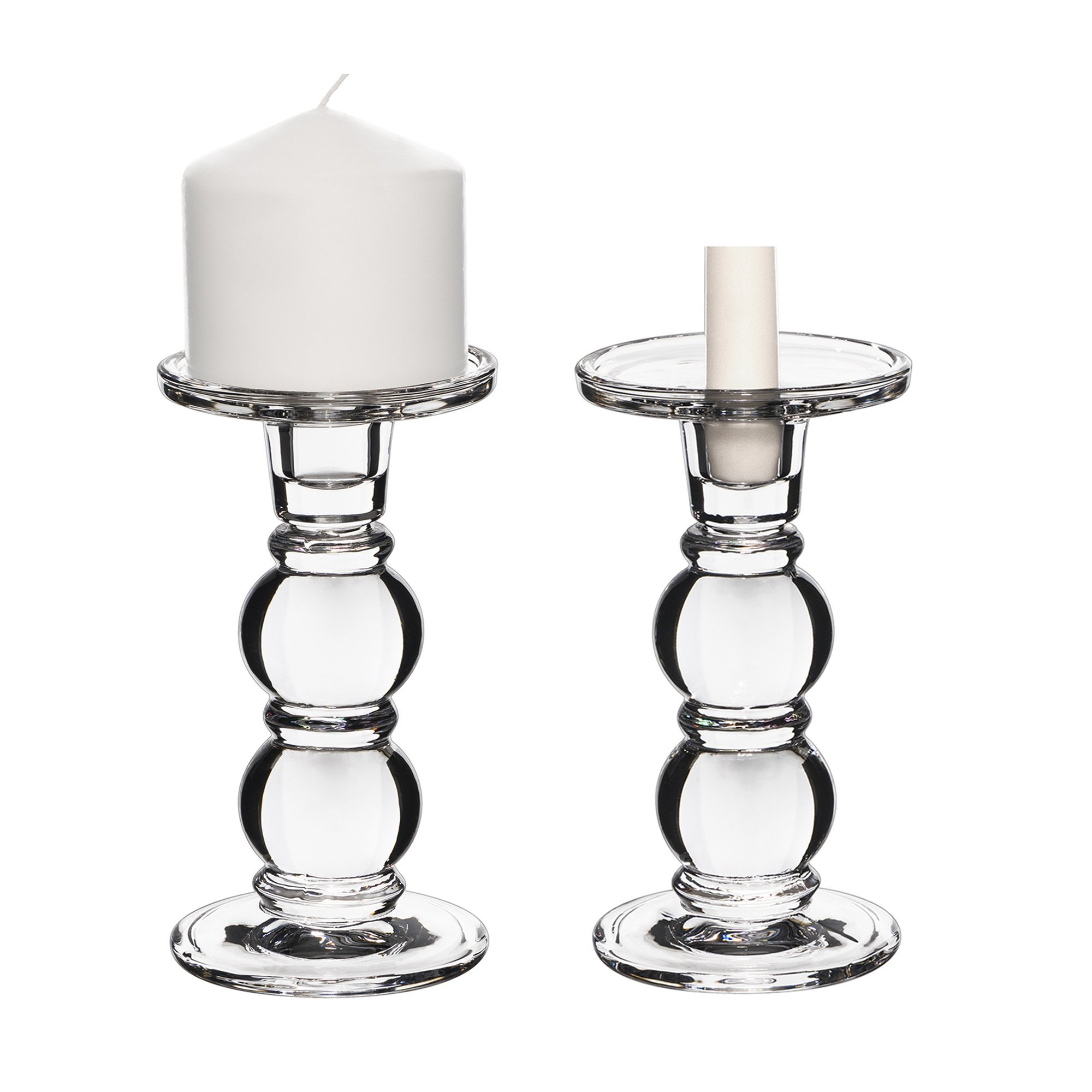 """CYS EXCEL Glass Candle Holders for 3"""" Pillar or 3/4"""" Taper Candle. Candle Holder Height-7.25"""", Clear Glass, Wedding Decoration, Candlestick Pack of 2 PCS"""