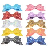 Yazon Glitter Bows Hair Clips for Baby Toddler Girls Sparkly Hair Bows with Alligator Clips Kids Hair Accessories 10pcs