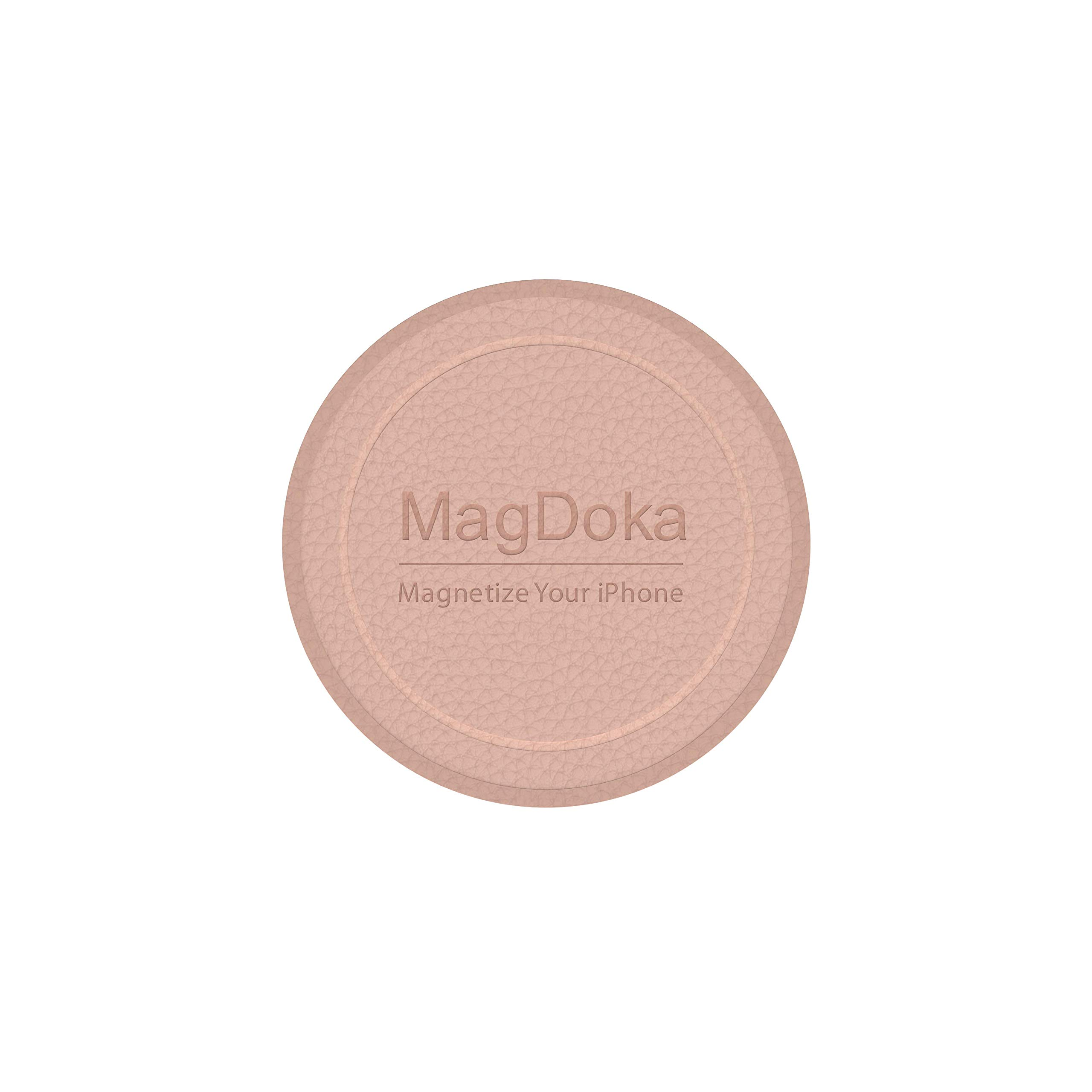 MagEasy Magnetic Mount Plate - MagDoka, Universal Magnet Adhesive Sticker for Car Phone Holder & Cradle, MagSafe Wireless Charging Support, Compatible with iPhone 6/6s/7/8/X/XR/XS/11/12/SE - Pink Sand