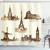 """Ambesonne Vintage Shower Curtain, European Landmark Traveller Tourist Cities Italy France Spain Sketchy Image, Cloth Fabric Bathroom Decor Set with Hooks, 75"""" Long, Brown Cream"""