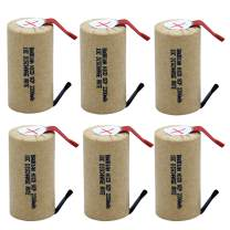 BAOBIAN SubC Sub C 2200mAh 1.2V Ni-Cd 10C Discharge Rate Rechargeable Battery Cell with Tabs for Power Tools (6Pcs)