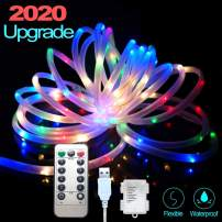 IELECMG Rope Lights Battery Powered, 33FT Strip Lights with Remote Outdoor Indoor Multicolored String Lights Color Changing for Wedding Patio Garden Home Decor Rope Lights