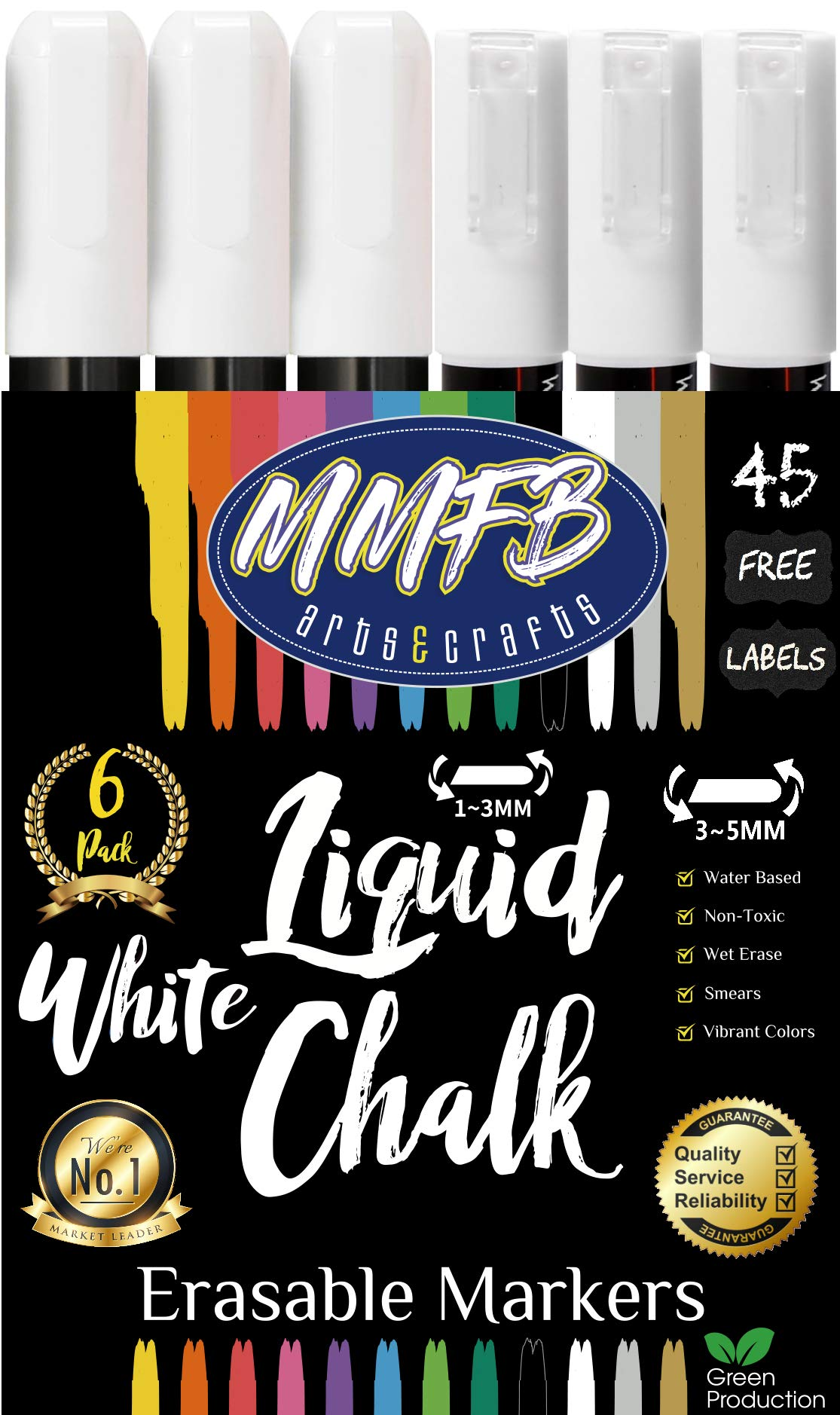 3mm Fine & 5mm Medium Bright White Liquid Chalk Markers (6 Pens Size F & M) w/ 45 Chalkboard Labels, Wet Erasable For Nonporous Surfaces - Reversible Bullet Chisel Tips Nibs (Fine 3MM & Bold 5MM)