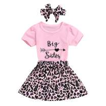 Toddlers Baby Girls Short Sleeve Top+Leopard Print Shorts/Skirts+Headband 3Pcs Outfit Set