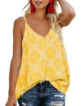 TECREW Women's Boho Floral V Neck Spaghetti Straps Tank Top Summer Sleeveless Shirts Blouse