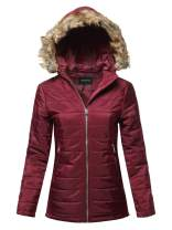 Made by Emma Women's Casual Long Sleeve Quilted Padding Jacket with Detachable Faux Fur Hoodie