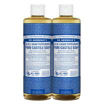 Dr. Bronner's - Pure-Castile Liquid Soap (Peppermint, 16 ounce) - Made with Organic Oils, 18-in-1 Uses: Face, Body, Hair, Laundry, Pets and Dishes, Concentrated, Vegan, Non-GMO, 2 pack