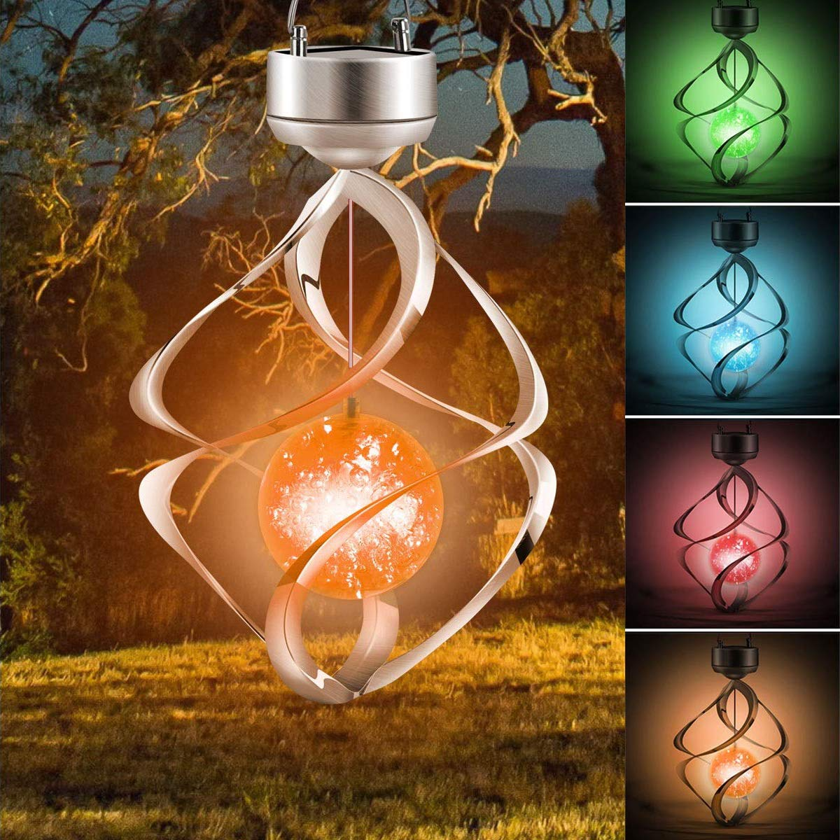 LED Solar Wind Chime Light Halloween Spiral Pumpkin Garden Lamp for Yard