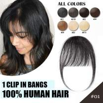 Clip in Bangs Real Human Hair Bangs One Piece Hairpiece Black Hair Bangs with Temples Thin Air Fringe Two Side Bang Onepiece Bangs Hair Accessories for Women #01 Dark Black