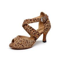 BAYSA Women Fashion Rhinestone Latin Ballroom Salsa Tango Dance Shoe (US7, Leopard)