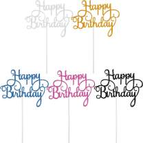 Yaomiao 25 Pieces Glitter Birthday Cake Toppers Happy Birthday Cupcake Picks for Party Decoration, 5 Colors