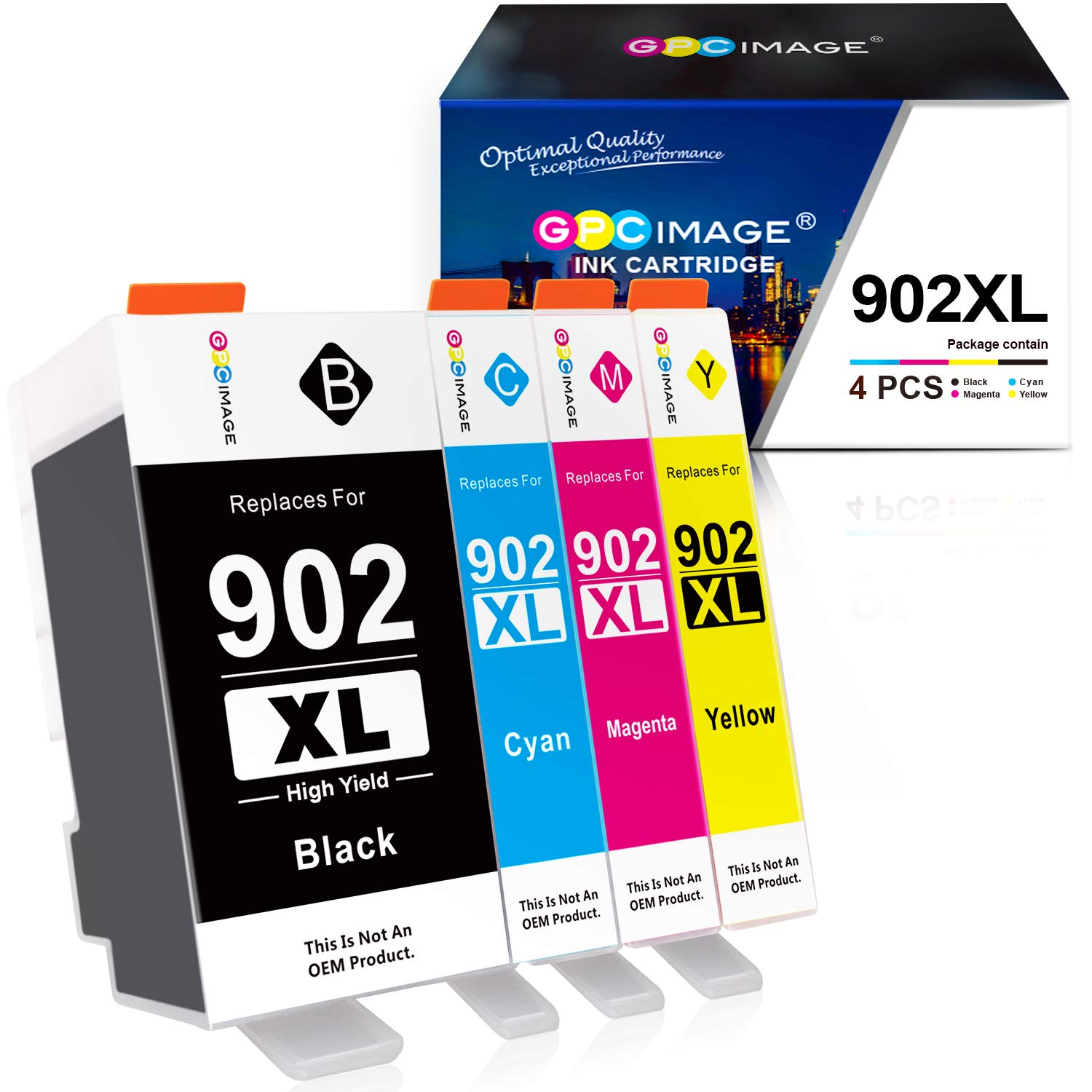 GPC Image Compatible Ink Cartridge Replacement for HP 902 XL 902XL (Newest Chip) to use with OfficeJet Pro 6978 6968 6962 6958 6954 6960 Printers(1 Black, 1 Cyan, 1 Magenta, 1 Yellow, 4 Pack)