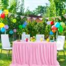 PiccoCasa L6ft Long Tutu Table Skirts Mesh Tulle Dinner Table Desk Skirting Fluffy for Birthday Party, Wedding Decoration Shower, Pink