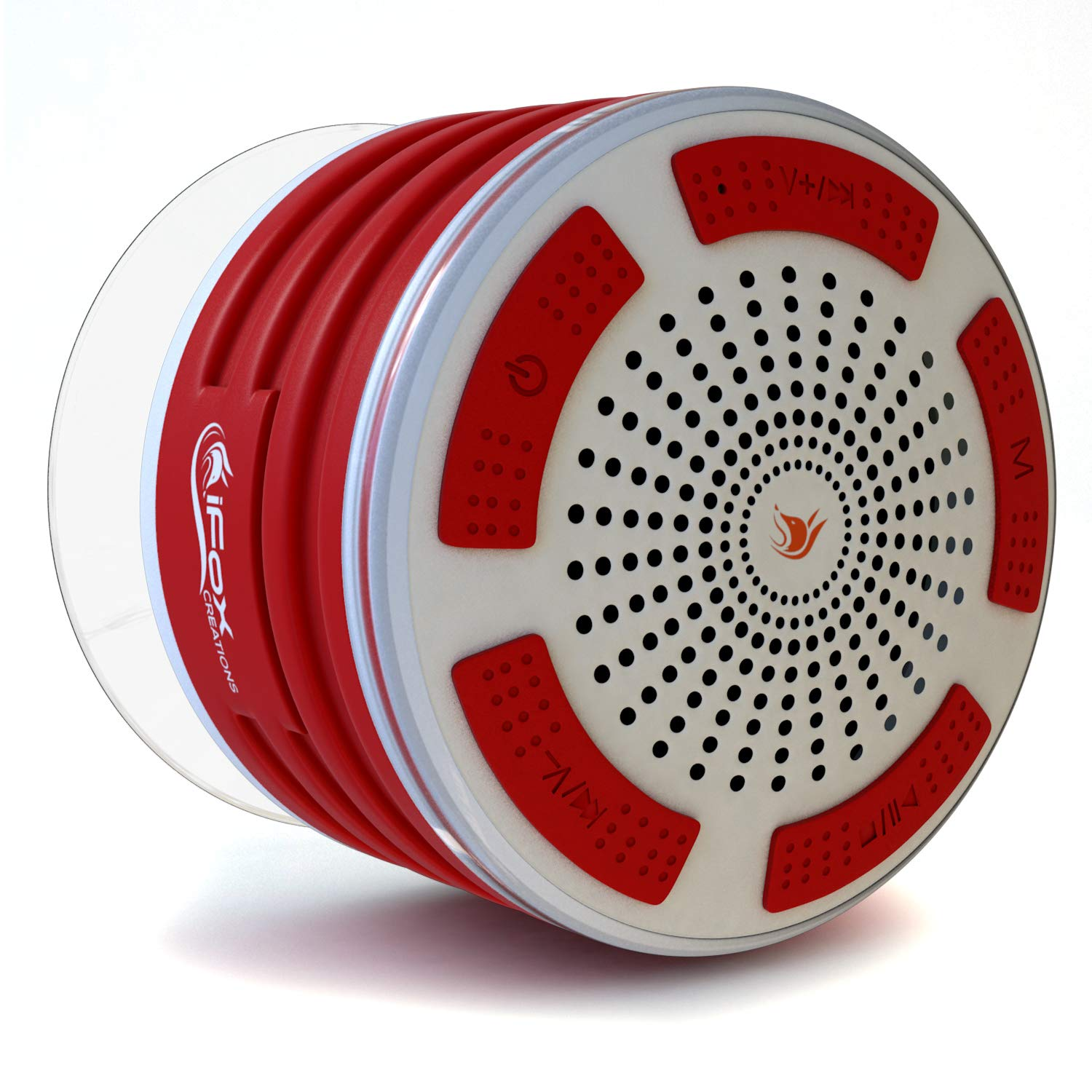 iFox iF013 Bluetooth Shower Speaker - 100% Waterproof Shower Radio. Wireless It Pairs to All Bluetooth Devices - Phones, Tablets, Computer, Games (Red & White)