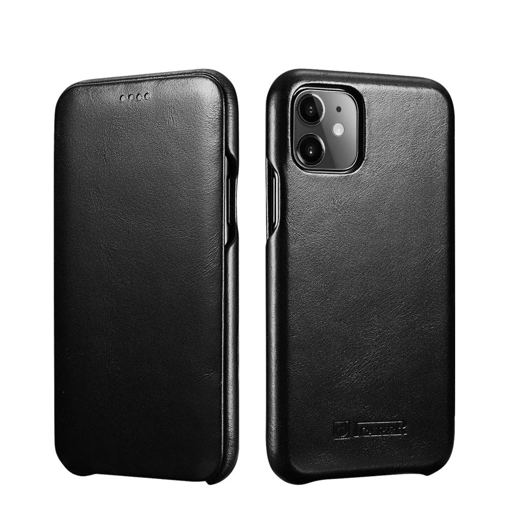 ICARER iPhone 11 Leather Case,Genuine Leather Flip Folio Opening Cover in Curved Edge Design, Slim Thin Side Open Case for iPhone 11 6.1 Inch (Black)