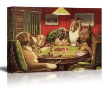 wall26 Canvas Wall Art - Dogs Playing Poker Series - A Bold Bluff by by C.M Coolidge - Giclee Print Gallery Wrap Modern Home Art Ready to Hang - 24x36 inches