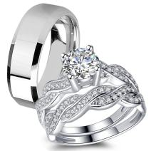 MABELLA His Hers 3 pcs Men's Stainless Steel Band & Women Infinity 925 Sterling Silver Wedding Engagement Ring Set