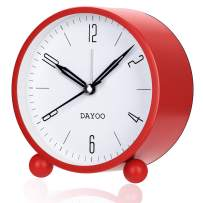 DAYOO Alarm Clock, 4 Inch Round Alarm Clock Non Ticking, Battery Operated and Light Function, Super Silent Alarm Clock, Simple Stylish Design for Desk/Bedroom (Red)