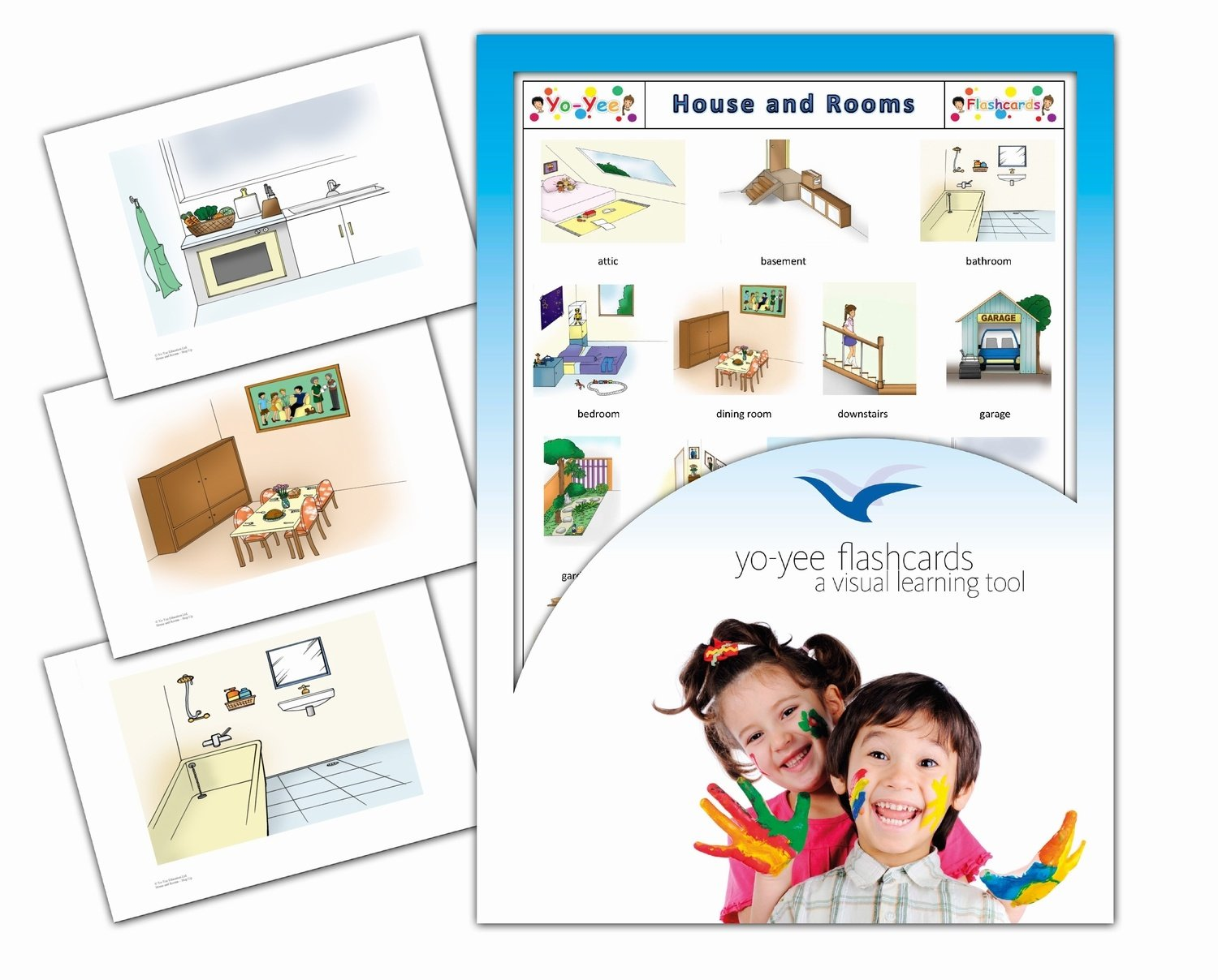 Yo-Yee Flashcards - Rooms and House Flash Cards - English Vocabulary Picture Cards for Toddlers, Kids, Children and Adults
