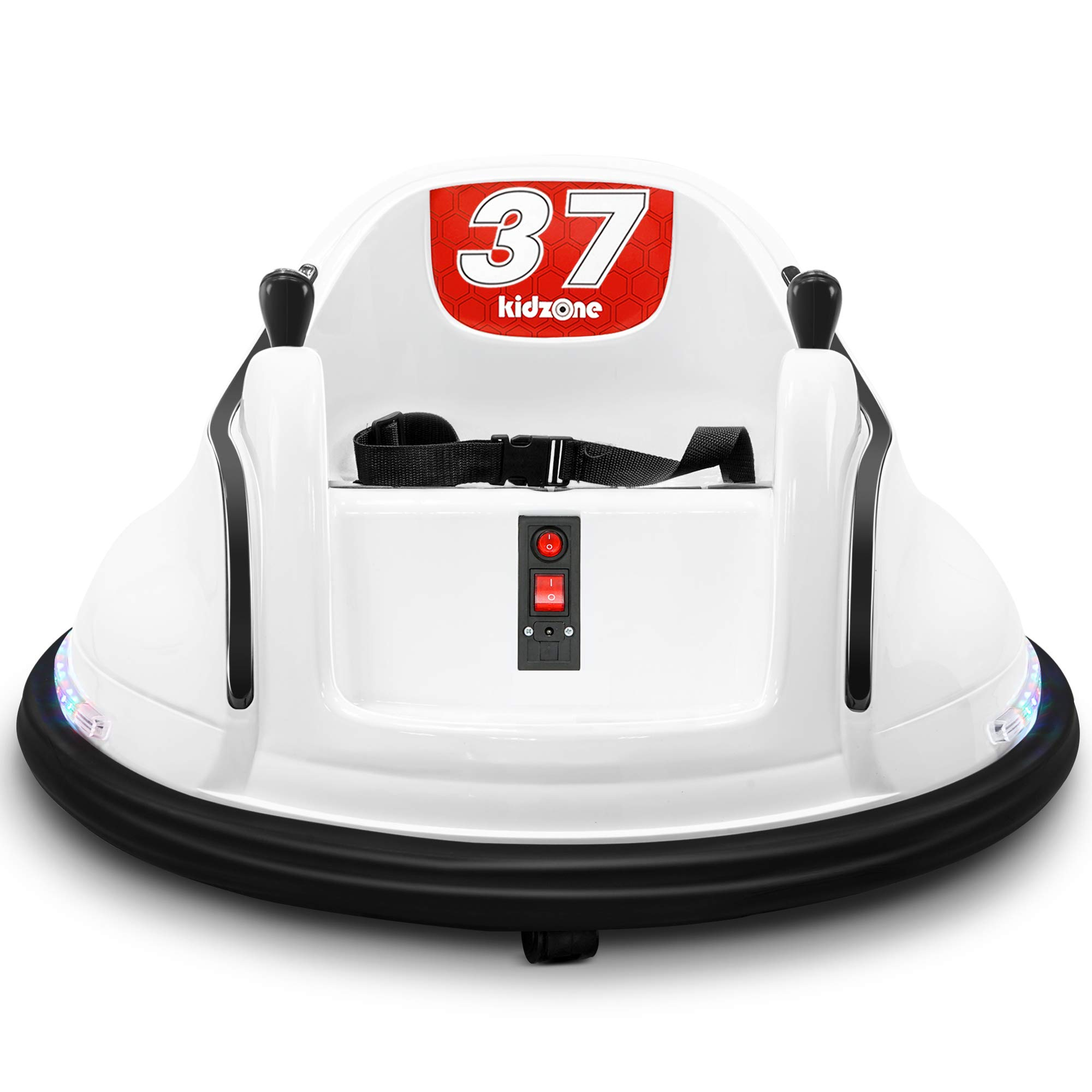 Kidzone Race #37/#73 Ride On Bumper Car 360 Degree Spinning Toy for Toddlers Aged 1+ 6V Battery-Powered with LED Light for Boys & Girls, White