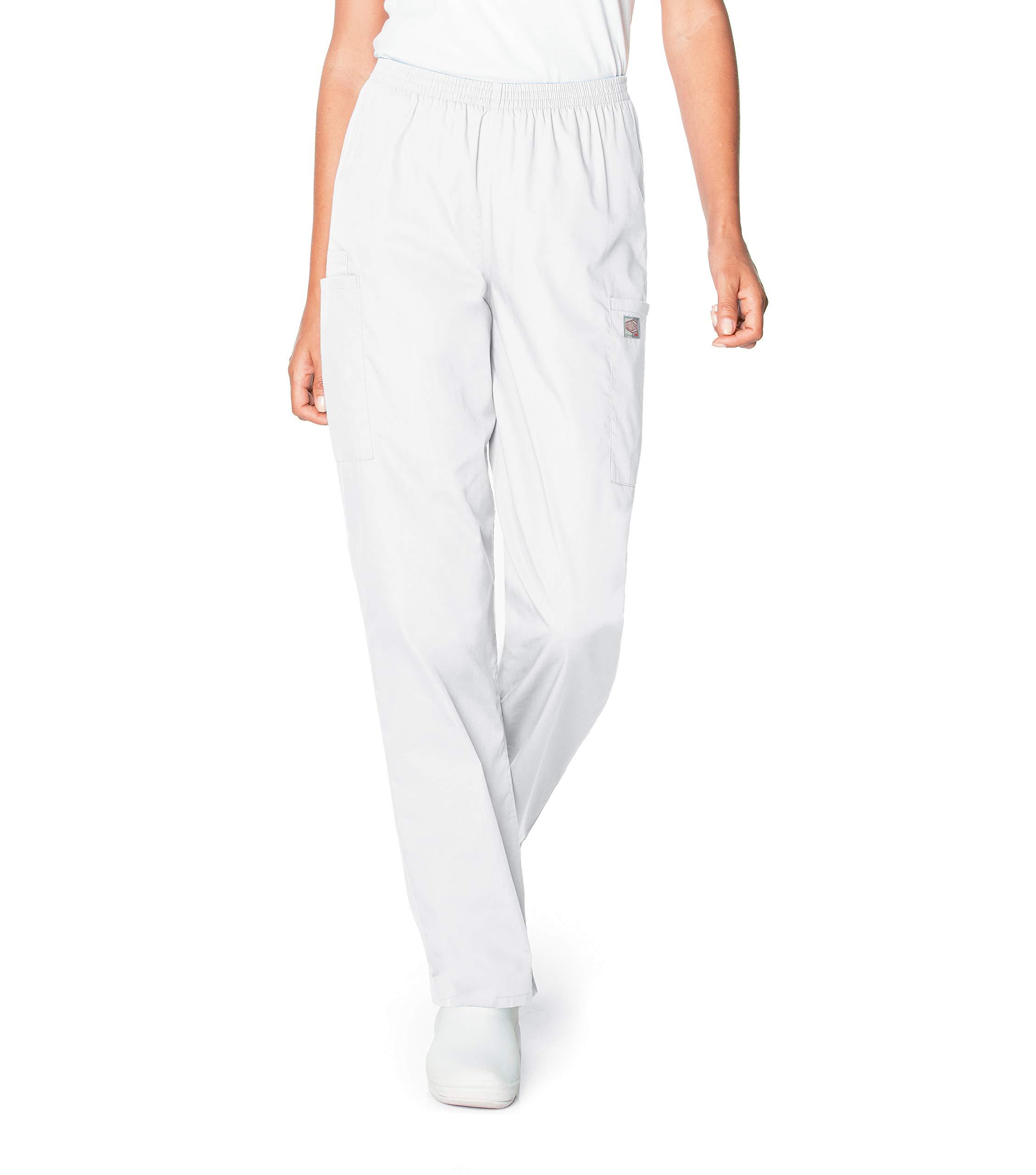 Scrub Zone Women's Durable 2-Pocket Elastic Waist Classic Fit Cargo Scrub Pant, White, Large