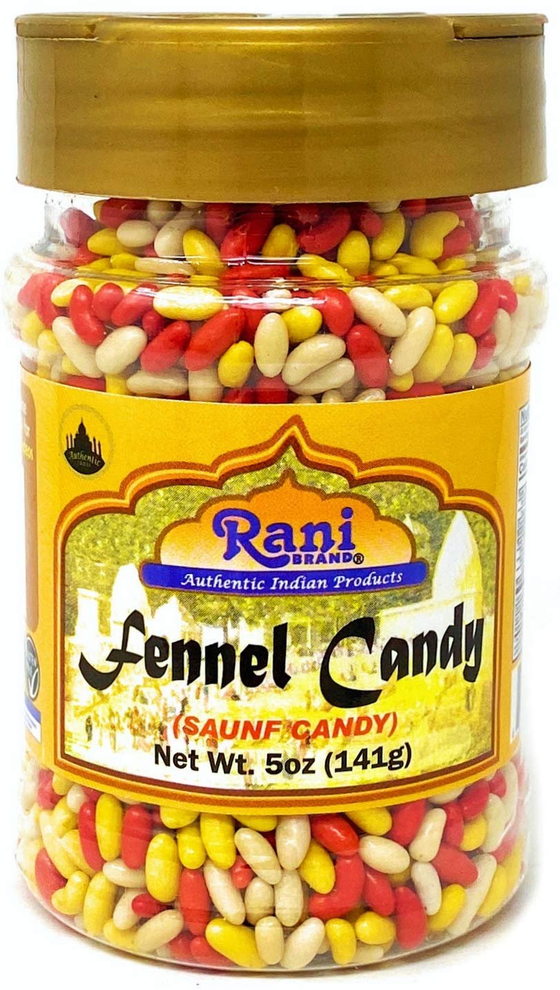 Rani Sugar Coated Fennel Candy 5oz (141g) PET Jar ~ Indian After Meal Digestive Treat | Vegan