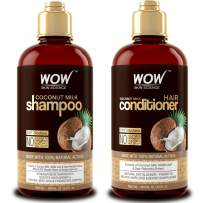WOW Coconut Milk Shampoo and Conditioner Set (2 x 16.9 Fl Oz / 500mL - DHT Blockers Slow Down Hair Loss - Essential Vitamins & Oils For Faster Hair Growth For Men & Women - Paraben, Salt, Sulfate Free