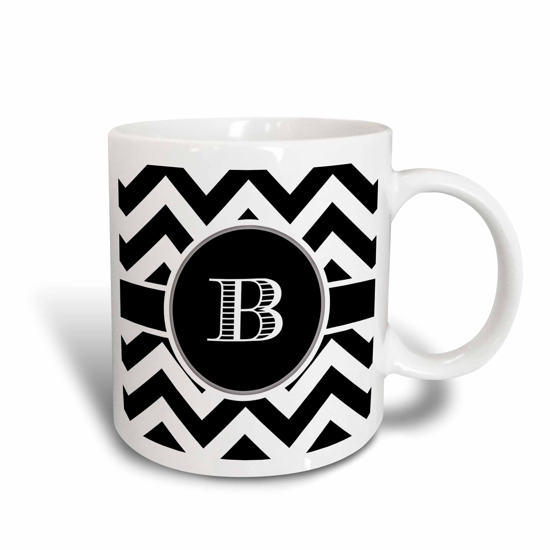 3dRose 222064_6 Chevron Monogram Initial B Mug, 11oz, Black/White/Blue