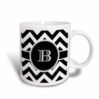 3dRose Chevron Monogram Initial B Mug, 11oz, Black/White/Blue