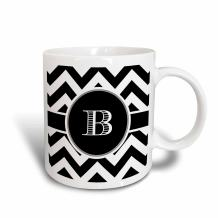 3dRose 222064_6 Chevron Monogram Initial B Mug, 11oz, Black/White/Blue