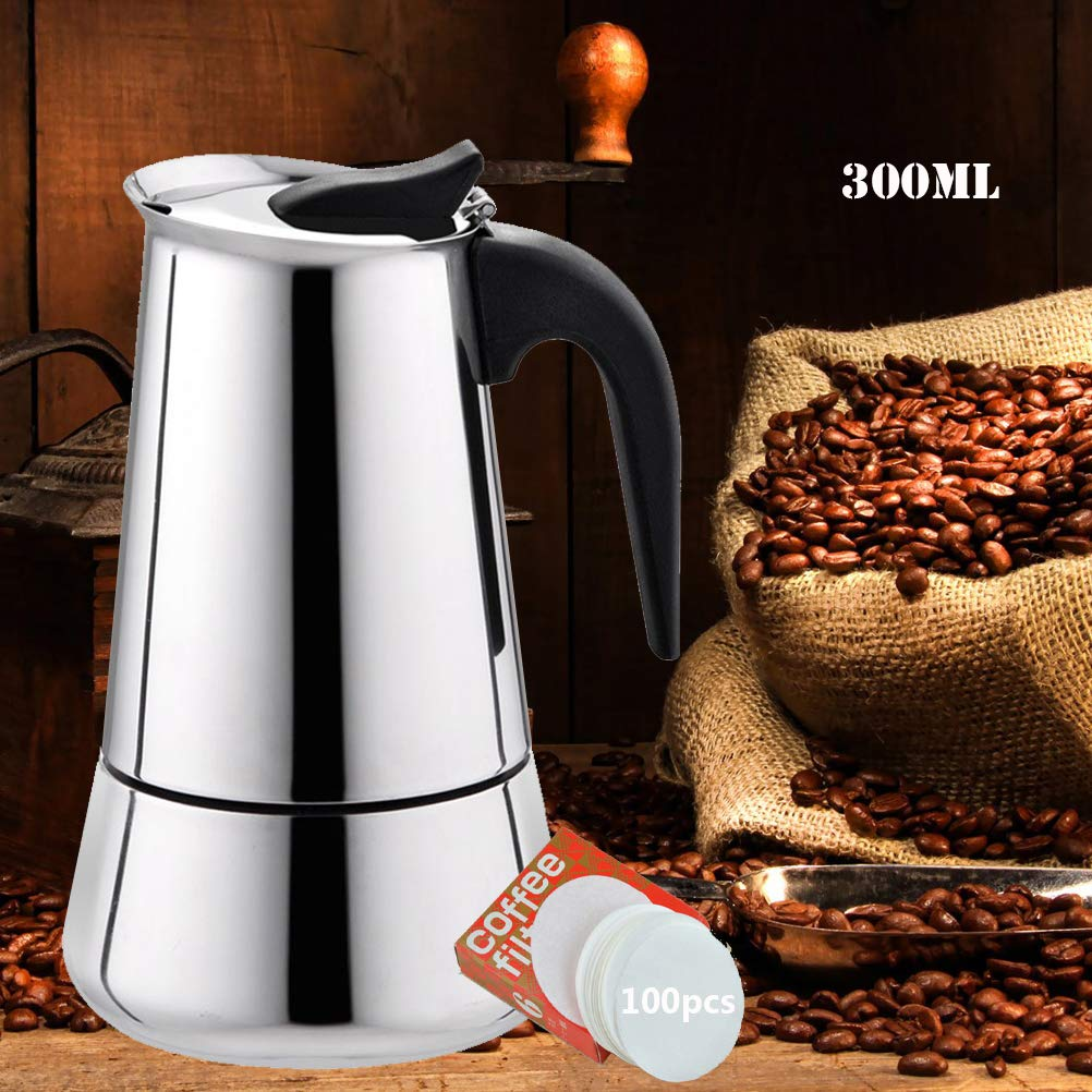 Stovetop Espresso Maker, Moka Pot, Percolator Italian Coffee Maker, 6-Cup 10oz/300mL, Classic Full Bodied Cafe Maker Machine, 430 Stainless Steel Induction Cooker Suitable