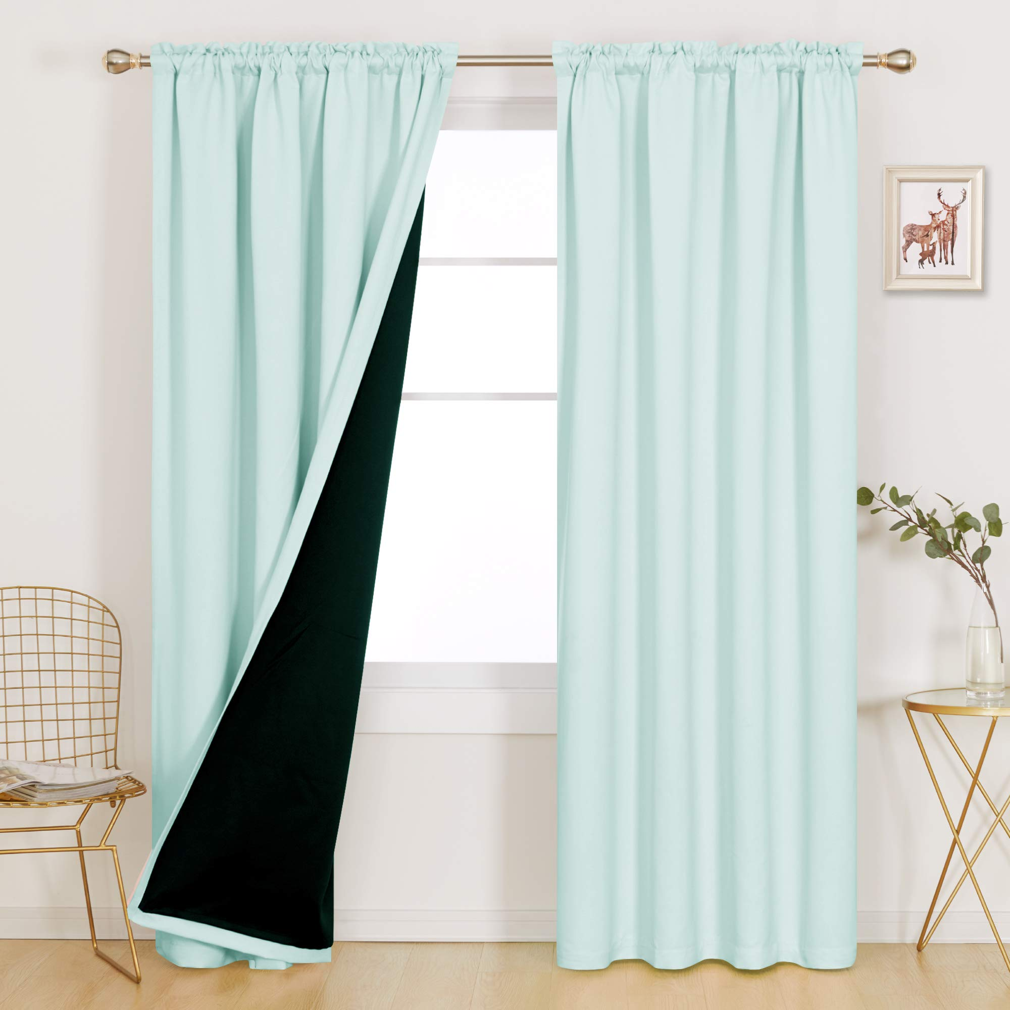 Deconovo Thermal Insulated Total Blackout Curtains Double Layer Backing 100% Full Light Noise Blocking Rod Pocket Window Drapery for Bedroom Living Room, 1 Pair, 52x95 in Each Panel, Baby Blue