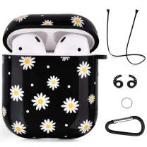 Airpods Case - VIGOSS Hard Airpod Case Cover Glossy Airpods Accessories for Airpods 2 and 1 Shockproof Protective Set Skin Case Women Girls Daisy