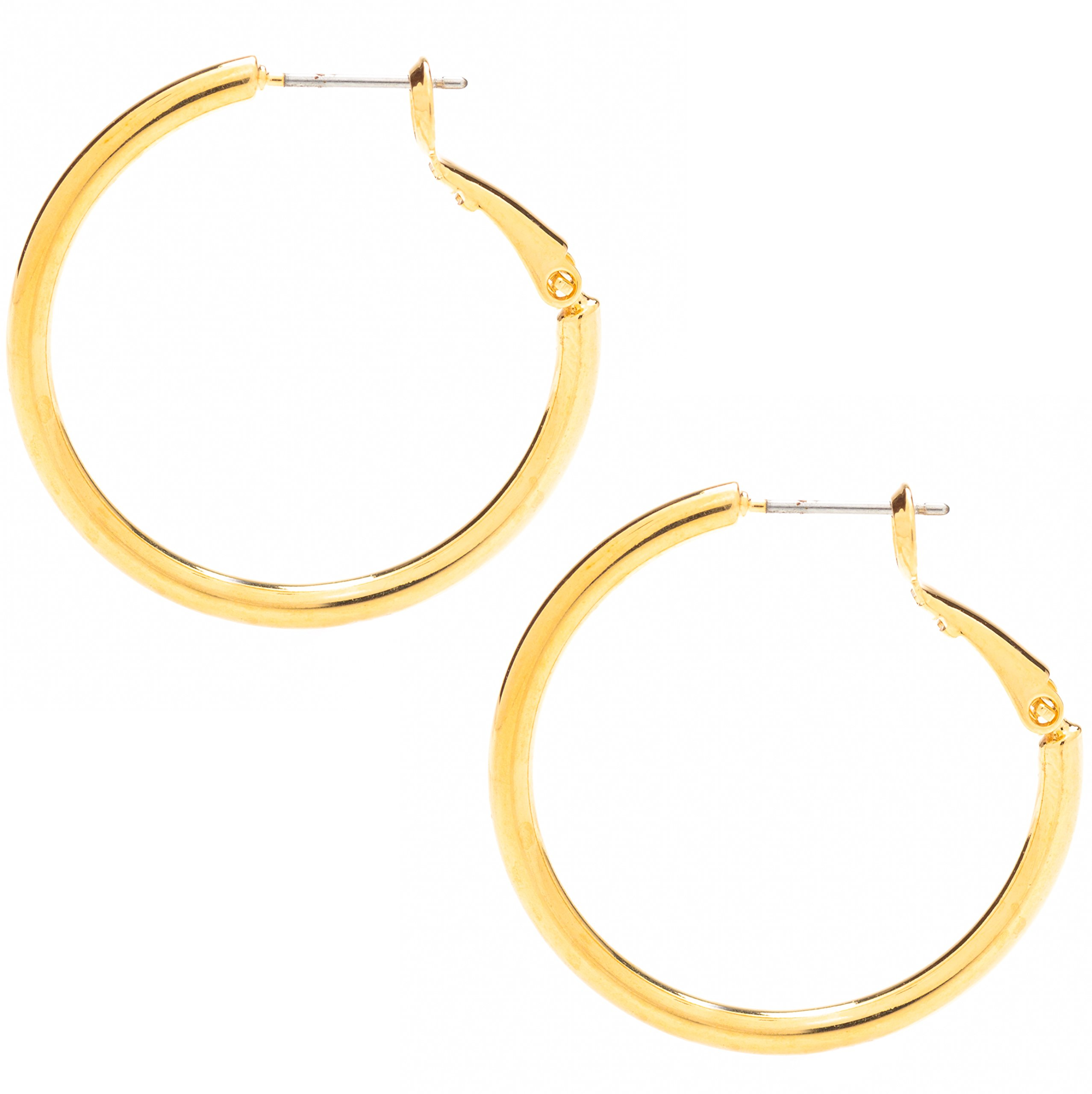 Lifetime Jewelry Gold Hoop Earrings for Women - 20X More Real 24k Plating Than Other Hoops - Safe for Most Ears Hypoallergenic Premium Fashion Jewelry with Lifetime Replacement Guarantee 1.25 inches