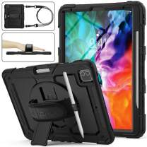 SEYMAC stock Case for iPad Pro 12.9 2020, 3-Layer Shock-Proof Protection Case with [360 Degrees Rotating Stand] Hand Strap &[Pencil Holder] for iPad Pro 12.9 4th Gen 2020 (Black)