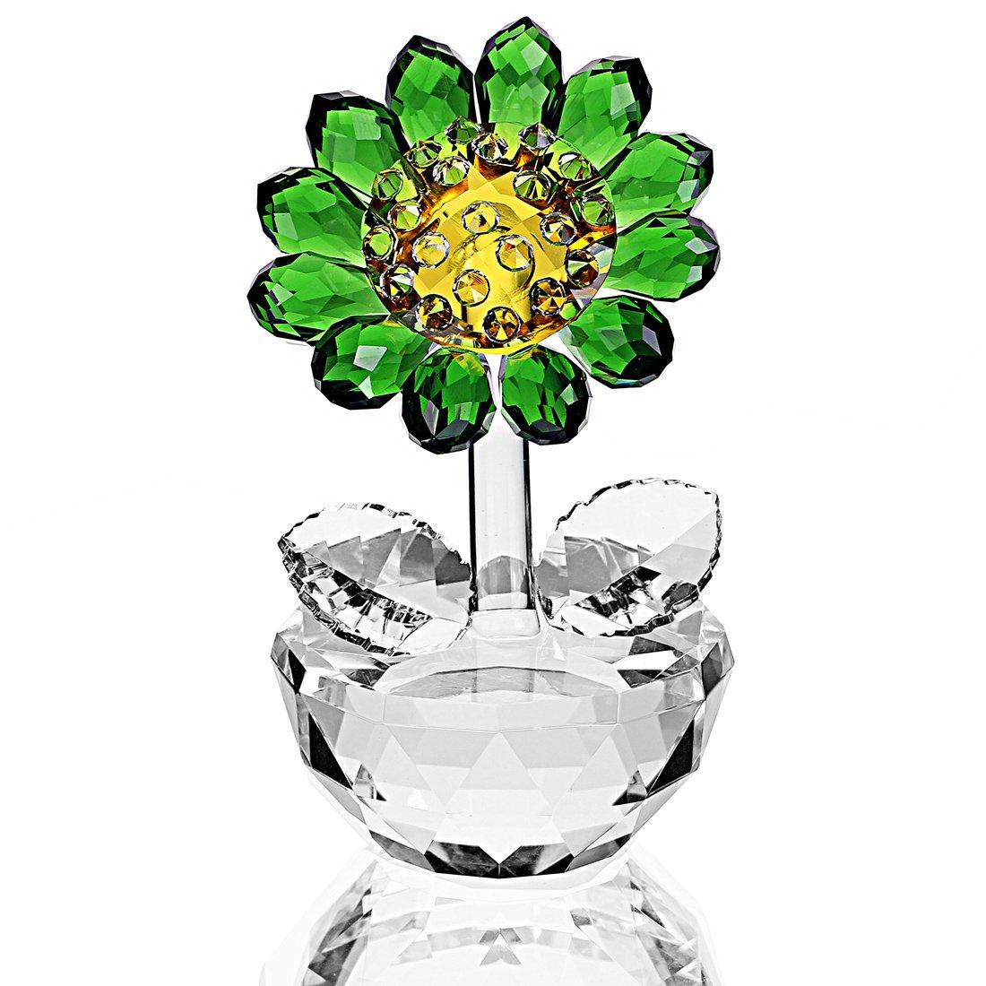 H&D HYALINE & DORA Crystal Sunflower Figurine Ornament Paperweight Home Decor