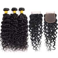 Sakalaka 9A Brazilian Water Wave Bundles With Closure(22 24 26+20) Free Part 100% Unprocessed Wet And Wavy Curly Human Hair Weave Bundles With Closure Natural Colour