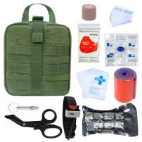 GRULLIN Survival First Aid Kit, 39 Pieces Tactical Molle EMT IFAK Pouch Emergency First Aid Survival Kits Trauma Bag Outdoor Gear for Camping Hiking Hunting Travel Car Adventures (Army Green)